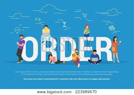 Online order concept vector illustration of people ordering and purchasing different types of goods such as food, clothes, gadgets. Flat concept design of young men and women using shopping online