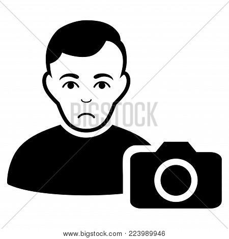 Sad User Photo vector icon. Style is flat graphic black symbol with sadly sentiment.
