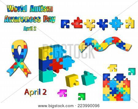 A set of puzzles from ribbons and inscriptions with World Autism Day. Vector illustration on isolated background