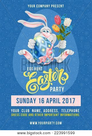 Easter Egg Hunt Party poster design template with cheerful bunny, colored egg on blue background with doodle pattern. Calligraphic lettering inscription Easter. Vector Illustration.