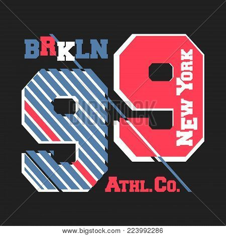 T-shirt print design. New York Brooklyn vintage t shirt stamp. Printing and badge applique label college t-shirts, jeans, casual wear. Vector illustration.