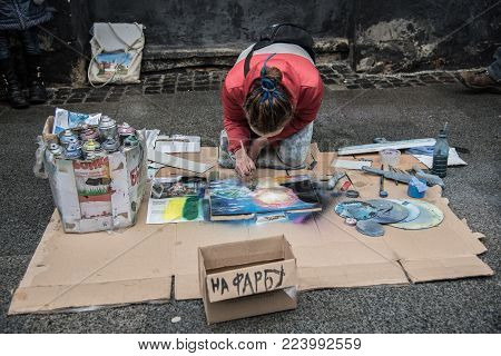 Lviv, Ukraine - January 21, 2018: Spray Paint Show For Audience In The Middle Of The Street, Young B