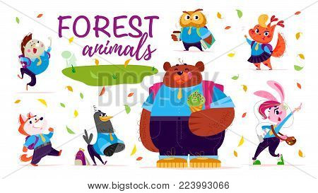 Vector set of flat friendly cute forest animals children - back toschool theme isolated on white background. Animal students characters, icons.