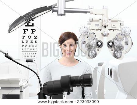 optometrist exam, eyesight  woman patient in optician office