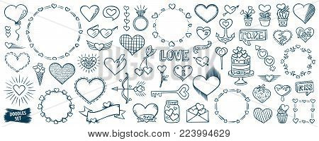 Valentines day. Hearts doodles set. Romantic stickers collection. Hand drawn effect vector. Wedding and marriage doodles. Love theme simple sketches. Hearts patch badges.