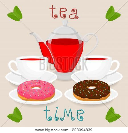 Vector illustration logo for white ceramic cup, glass teapot, teacup on saucer, donut. Teacup pattern of tea brewed in porcelain cups, transparent teapot, donuts. Drink teas in teacups from teapots.