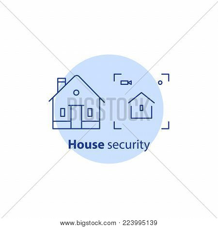 Home security service, house video camera surveillance, alarm guard system, robbery prevention, intrusion protection, property break in, burglary insurance concept, vector line icon
