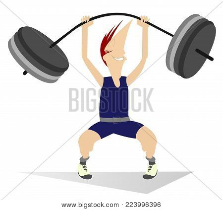 Cartoon man weightlifter isolated  illustration. Cartoon strong smiling man is trying to lift a heavy weight isolated on white illustration