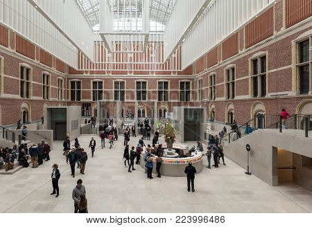 AMSTERDAM, NETHERLANDS - APRIL 22, 2017: Rijksmuseum, the original interior courtyards have been redesigned to create the imposing new entrance space of the Atrium. Amsterdam, Netherlands