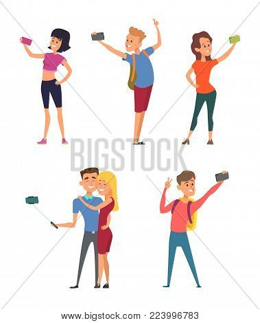 Different funny characters make selfie on their smartphones. Vector characters happy with camera for self photography illustration