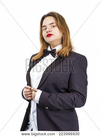 Elegant woman in tailcoat against white background