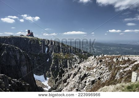 Rock With Buiding Of Refuges In Giant Mountains In  Poland