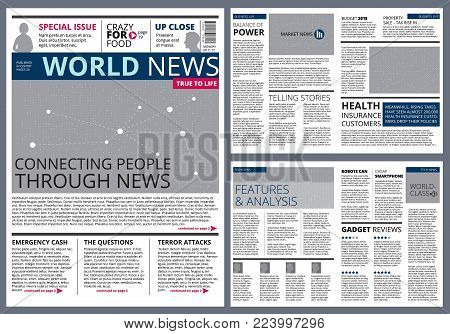 Different articles in newspaper. Vector design template with place for your text. Newspaper article, press page print illustration