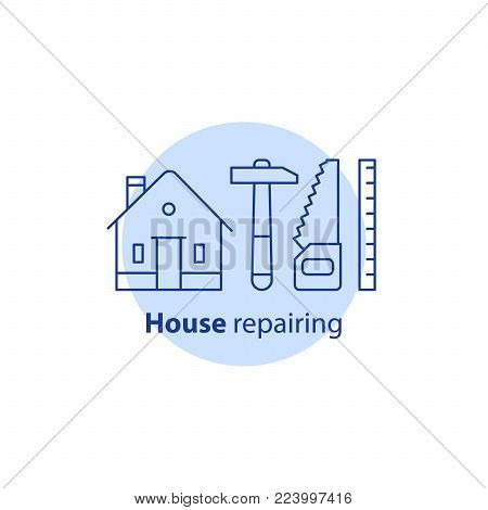 House repair services, carpenter concept, home improvement and maintenance, remodeling logo, residential building renovation, construction, hammer and saw tool, real estate ownership, vector line icon