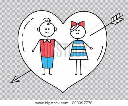 Happy Valentines Card. Guy and girl characters. Loving couple holding hands. Holiday card with heart pierced by arrow. Illustration for Valentines Day on transparent background
