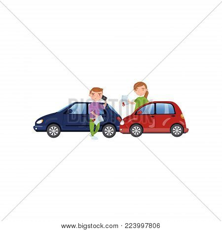 Two cars involved in a car wreck, auto insurance concept cartoon vector Illustration on a white background