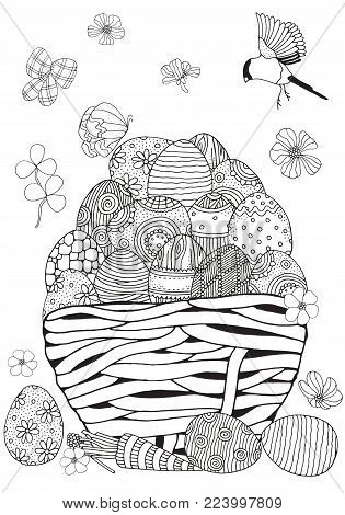 Basket with Easter eggs on a white background.Black and white.  Coloring book page for adult and children. Stock vector.