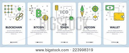 Vector set of vertical banners with Blockchain, Bitcoin, ICO token, Altcoin, Wallet concept website templates. Modern thin line flat style design.