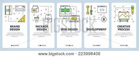 Vector set of vertical banners with Brand design, Package design, Web design, Development, Creative process concept website templates. Modern thin line flat style design.
