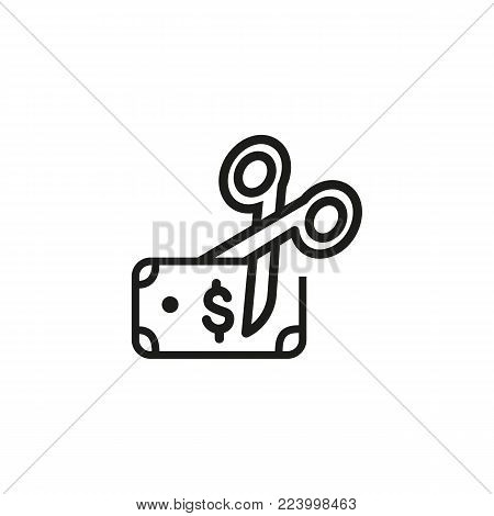 Icon of dollar bank note and scissors. Money, cut, budget. Economy concept. Can be used for topics like finance, business, cost.