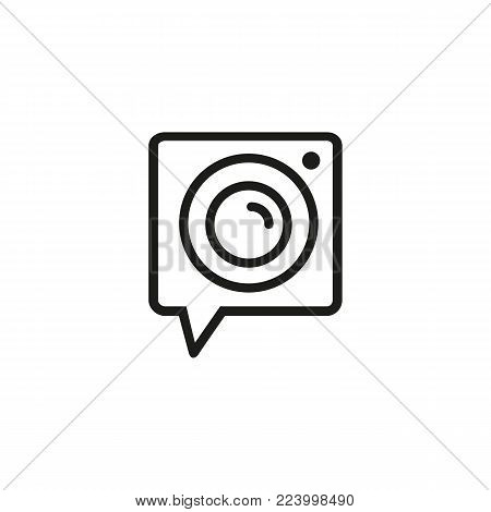 Icon of camera. Photo, video, lens. Photography concept. Can be used for topics like digital devices, mobile apps, photography.