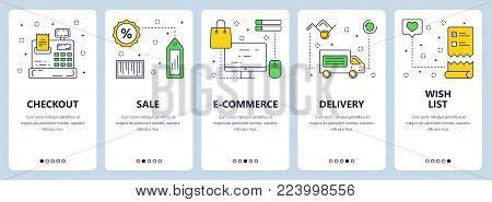 Vector set of vertical banners with Checkout, Sale, E-commerce, Delivery, Wish list concept website templates. Modern thin line flat style design.