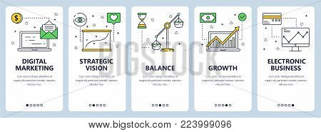 Vector set of vertical banners with Digital marketing, Strategic vision, Balance, Growth, Electronic business website templates. Modern thin line flat style design.