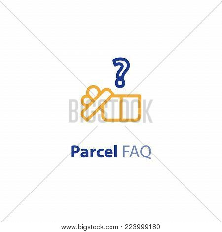 Delivery question and answer services, shipping parcel, shipment options, vector line icon set