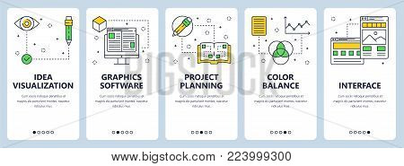 Vector set of vertical banners with Idea visualization, Graphics software, Creative process, Project planning, Color balance, Interface website templates. Modern thin line flat style design.