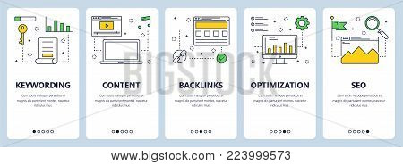 Vector set of vertical banners with Keywording, Content, Backlinks, Optimization, SEO website templates. Modern thin line flat style design.