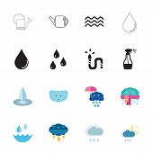 Icon set of water symbols. Liquid, precipitation, moisture. Water concept. Can be used for topics like gardening, nature, weather poster