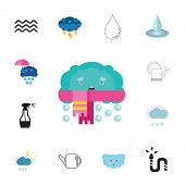 Icon set of water symbols. Liquid, precipitation, weather forecast. Water concept. Can be used for topics like gardening, nature, climate poster