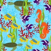 sea life seamless pattern , vector illustration poster