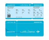 Modern paper blue boarding pass, talon for air travel, badge for checking travelers with data and an airplane silhouette. Air transport, airline ticket on board the aircraft. Vector illustration. poster