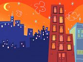 cartoon groovy buildings silhouettes (vector) - illustration poster