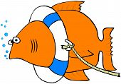 This illustration depicts a goldfish wearing a life preserver. poster