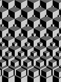 escher inspired stacking cubes art (vector) - illustration poster