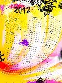 calendar grid 2012 english, vector EPS 10 poster