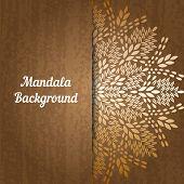 Mandala, abstract tibetan flower background. Indian medallion pattern. Vintage bohemian design. Vector art henna ornament poster