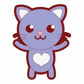 line color smile cat cute feline animal vector illustration poster