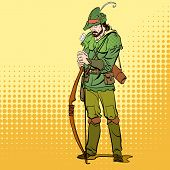 Robin Hood standing with bow and arrows. Robin Hood in a hat with feather. Young soldier. Noble robber. Defender of weak. Medieval legends. Heroes of medieval legends. poster