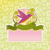 Tropical travel emblem. (Vector version of this work is available in my portfolio: # 51128953) poster