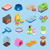 Pet store icon set. Vector flat isometric illustration of pet food supplies and treats, toys, collar, bedding accessories, kennels, pet carries, grooming kits, cat litter box, bowl and scratching post poster