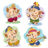 Vector cartoon illustration of little baby Ganesha, indian god of wisdom and prosperity, in traditional indian clothes. Set of cute elephant characters, dance and play on musical national instruments poster