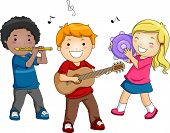 Illustration of Kids Playing Different Musical Instruments poster