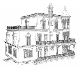 Old house in Victorian style. Illustration on white background. Black and white illustration in contour lines. Species from different sides