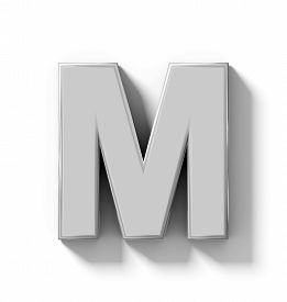 letter M 3D silver isolated on white with shadow - orthogonal projection - 3d rendering