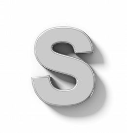 letter S 3D silver isolated on white with shadow - orthogonal projection - 3d rendering