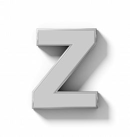 letter Z 3D silver isolated on white with shadow - orthogonal projection - 3d rendering