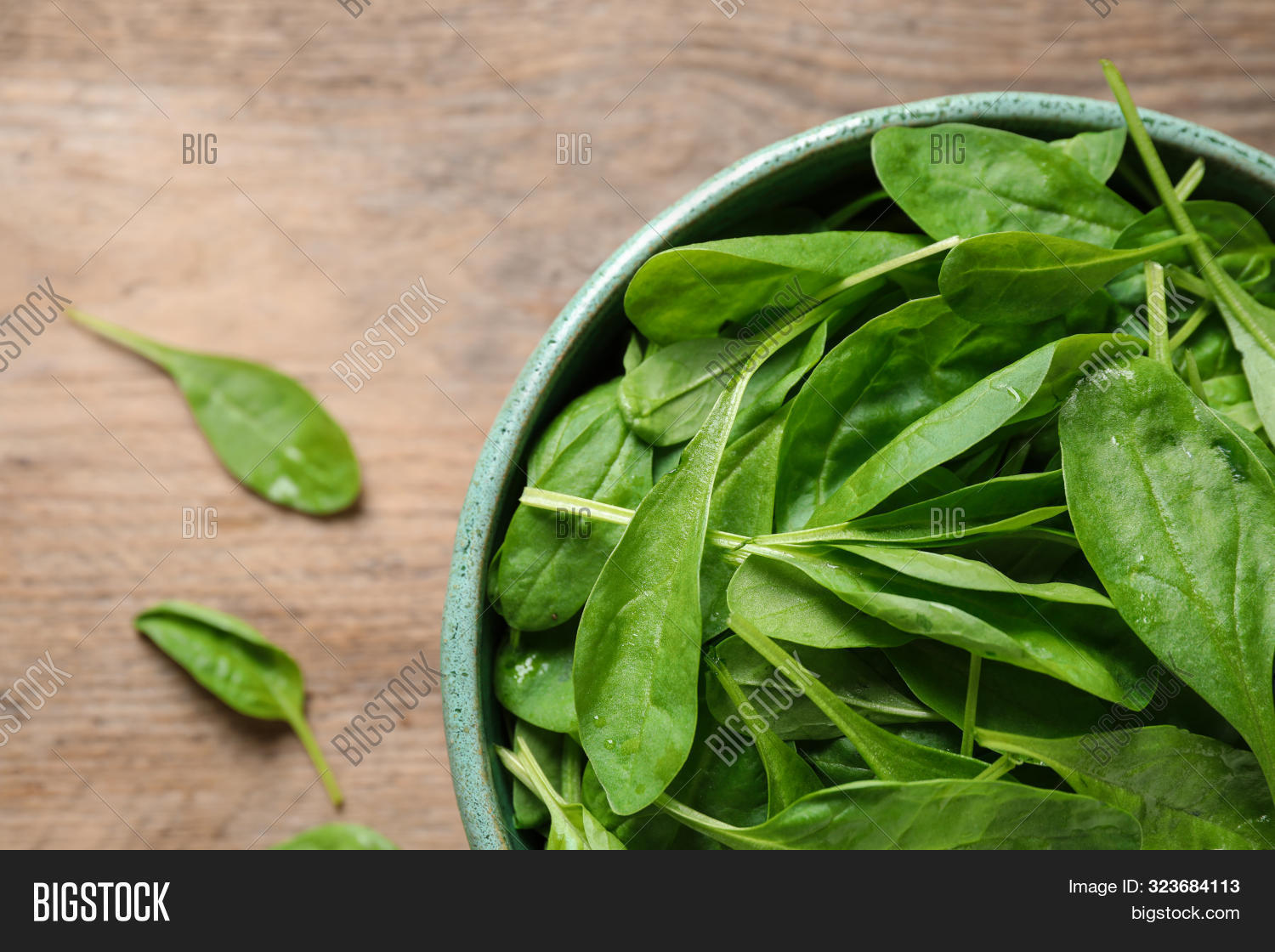 Fresh Green Healthy Spinach On Wooden Table, Top View